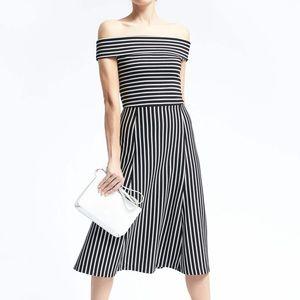 Banana Republic Off Shoulder Striped Midi Dress